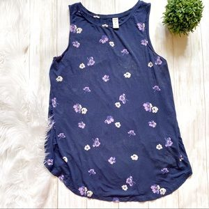 Old Navy Luxe Blue Flowered Tank Top